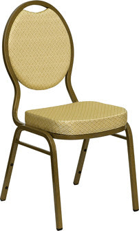 Banquet Stacking Chair w Beige Patterned Fabric 2.5 inch Thick - Tamirson