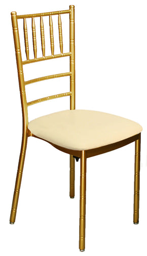 Chiavari Metal Ballroom Chair with Ivory Vinyl Cushion - Tamirson