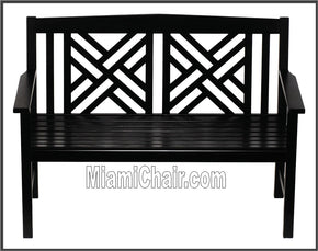 Out Door Outdoor Bench Love Seat Black Wood Miami Chair - Tamirson
