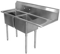 "Sink 58"" 2 Compartment 1 Right DrainBoard Coldtech SS2-18R - Tamirson"