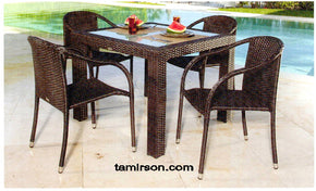 Outdoor Table Wicker Espresso Weave Zen 40 inch square - Tamirson