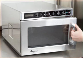 Amana HDC12A2 Heavy Duty Stainless Steel Commercial Microwave with Push Button Controls - 120V, 1200W - Tamirson
