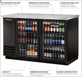 Back Bar Refrigerator Cooler True TBB‐2G‐HC‐LD - 2 Swinging Glass Doors Black 115v $2100 - Tamirson