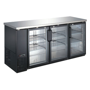"Back Bar Refrigerator Glass Door Cooler 72"" UBB-24-72G-HC coldline Black Counter Height $1495 - Tamirson"