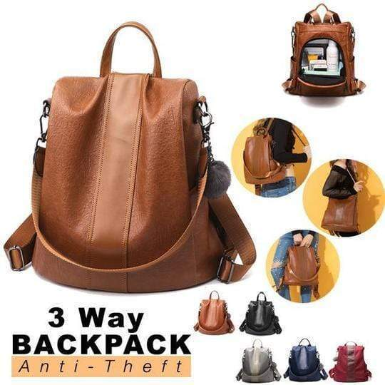 Buyshown Necklace&Rings Premium Leather Three Way Anti-Thief Women's Backpack