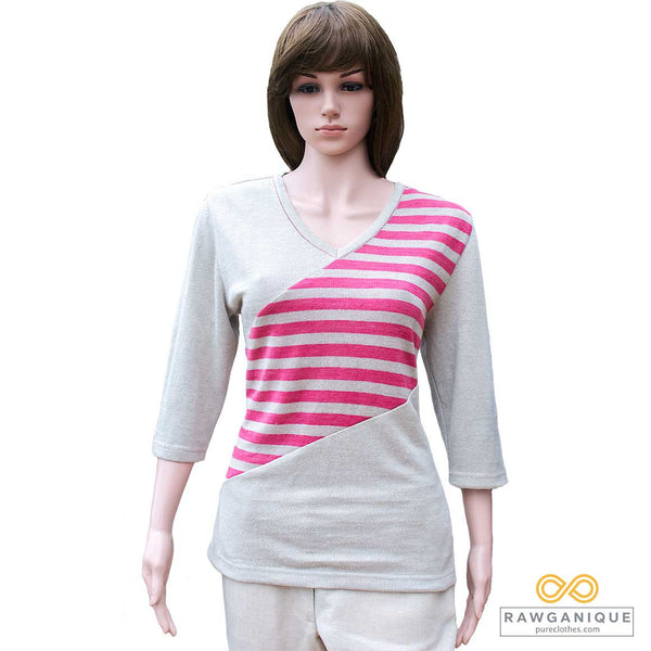 Organic Hemp Knit 3/4-sleeve Top. Sweatshop-free.