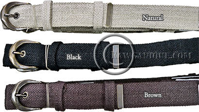 Organically grown European Hemp Fabric Belts. Sweatshop-free. Made in Europe.