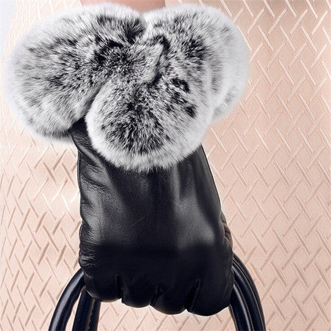 warm winter touch screen women leather gloves