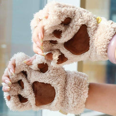 Unique Cute Warm Winter Plush Bear Paw Gloves - BoardwalkBuy - 1