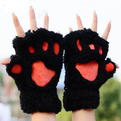 Unique Cute Warm Winter Plush Bear Paw Gloves - BoardwalkBuy - 2
