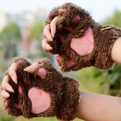 Unique Cute Warm Winter Plush Bear Paw Gloves - BoardwalkBuy - 5