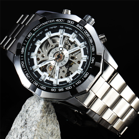 Winner Luxury Mechanical Military Watch - Black or White - BoardwalkBuy - 1