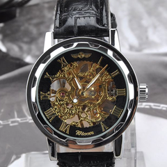Winner Luxury Mechanical Skeleton Watch With Leather Band - Assorted Colors - BoardwalkBuy - 2