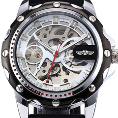 Winner Black Rubber Band Automatic Mechanical Skeleton Watch - BoardwalkBuy - 2