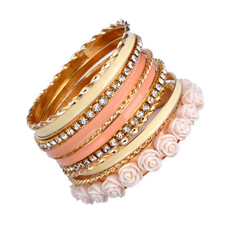 Flower Resin Enamel Alloy of gold color Bracelets and Bangles Set New  Design for Women - BoardwalkBuy - 1
