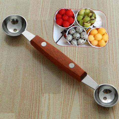 Stainless Steel Melon Baller Wooden Handle - BoardwalkBuy - 1