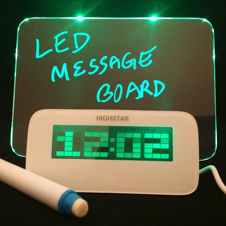 LED Fluorescent Message Board Digital Alarm Clock with 4 Port USB Hub