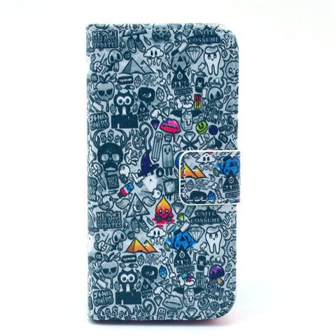 Cartoon Painting Leather iPhone 5 Case