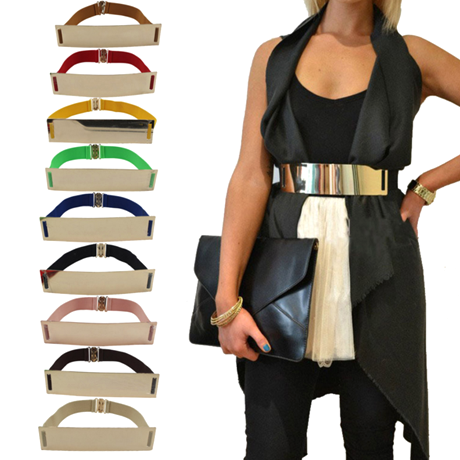 Metallic Wide Mirror Elastic Waist Belt - Assorted Colors - BoardwalkBuy - 1