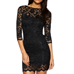 Women's Slim Fit 3/4-Sleeved O-Neck Lace Dress - BoardwalkBuy - 1