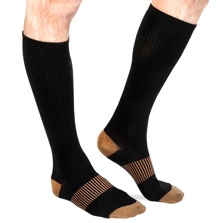 Unisex Long Copper-Infused Pain Relief Compression Socks - BoardwalkBuy