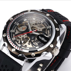 Winner Black Rubber Band Automatic Mechanical Skeleton Watch - BoardwalkBuy - 3