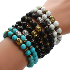 Energy Volcanic Stone Buddha Head Beads Bracelet - BoardwalkBuy - 1