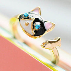 Women Enamel Cat Ring - BoardwalkBuy - 2
