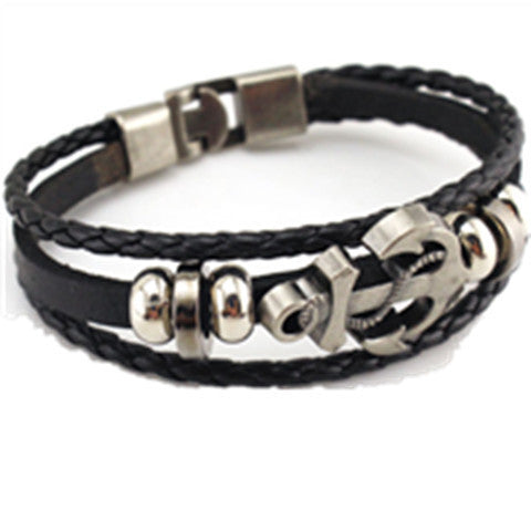 Cool Unisex Wristband Metal Studded Leather Bracelet