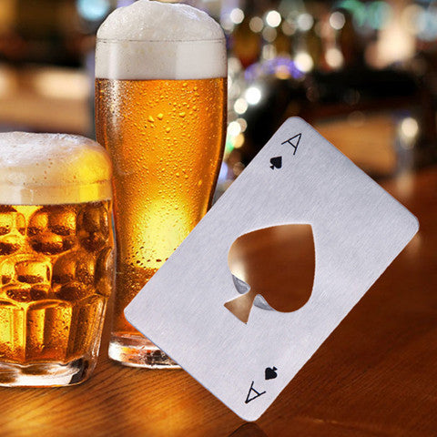 Stainless Steel Poker Playing Card Of Spades Openers