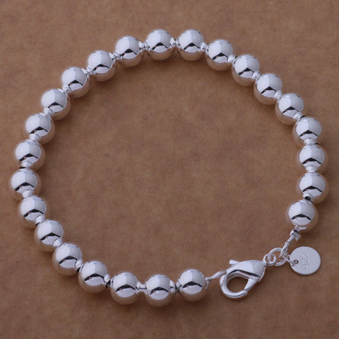 New  925 Sterling Silver Plated Beads String Chain Bracelet