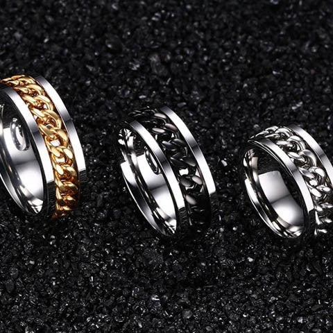 Stainless Steel Chain Rotatable Ring - BoardwalkBuy - 1