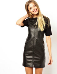 Women  Short Sleeve Leather  Patchwork Black Dresses - BoardwalkBuy - 3