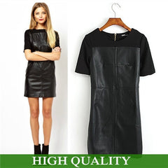 Women  Short Sleeve Leather  Patchwork Black Dresses - BoardwalkBuy - 1