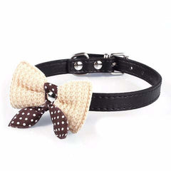 Knit Bowknot Wool Bows Pet Plush Butterfly Collars For Small Cats