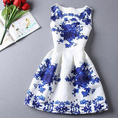 Red and Blue Flower Print Dress - BoardwalkBuy - 1