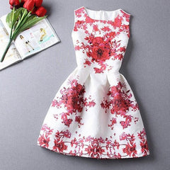 Red and Blue Flower Print Dress - BoardwalkBuy - 2