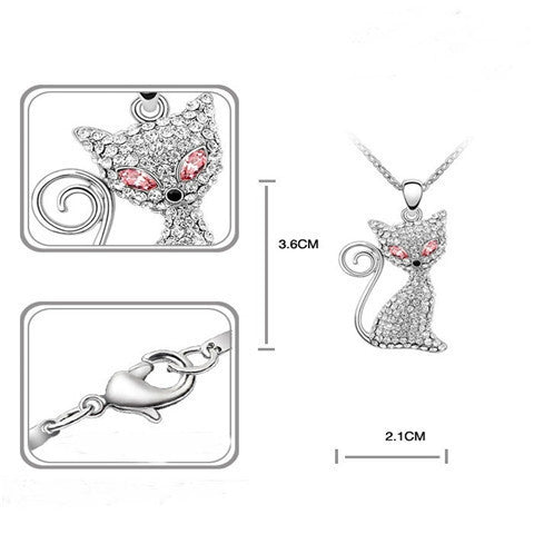 Cute Rhodium Plated Cat Necklaces Pendants Crystals