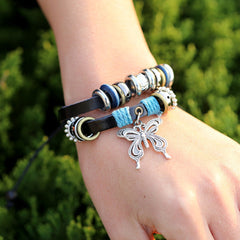 NEW Fashion butterfly Leather Charm Bracelet - BoardwalkBuy - 2