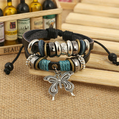 NEW Fashion butterfly Leather Charm Bracelet - BoardwalkBuy - 3