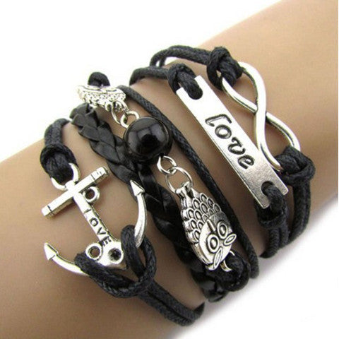 Infinity Owl Love Friendship Leather Charm Bracelet