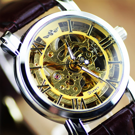 Winner Transparent Round Dial Skeleton Mechanical Watch