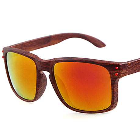Stylish Wooden-Frame Sports Sunglasses - Assorted Colors