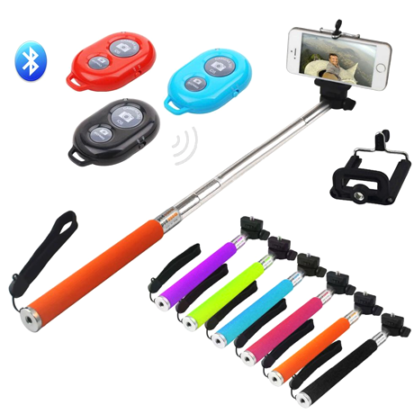Selfie Stick With Remote Bluetooth Shutter Button - Assorted Colors