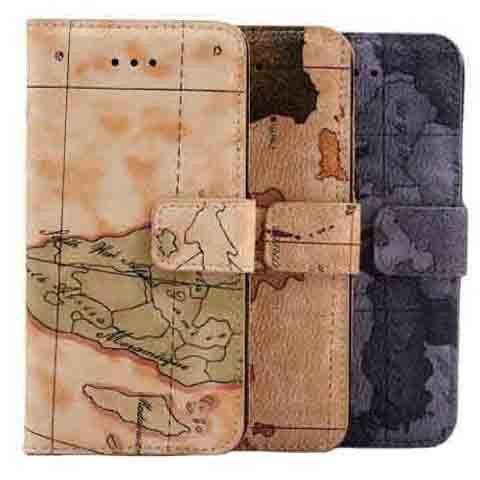 World Map Design iPhone 6 plus Wallet Case