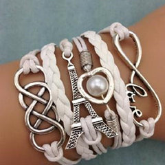 NEW Infinity LOVE Heart Eiffel Tower Friendship Leather  Bracelet - BoardwalkBuy - 1