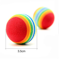 Pet Cat Kitten Soft Foam Rainbow Play Balls Color Random
