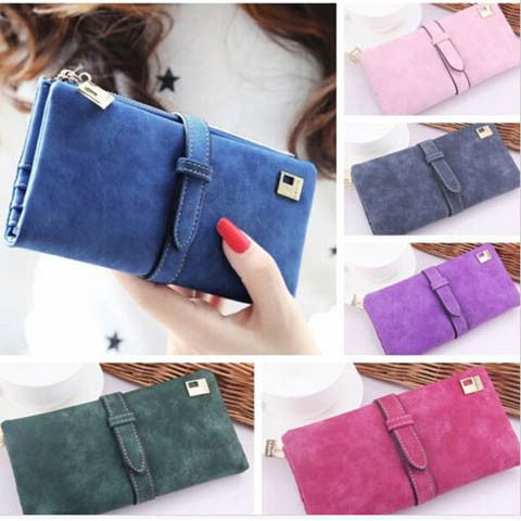 Women Long Matte Pu Leather Hasp Clutch Wallet