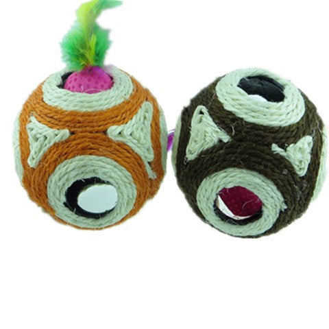 Cat Toy Feather Sisal Rope Balls Scratcher Rattle Ball