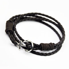 40cm PU Leather Men Anchor Bracelet - BoardwalkBuy - 5